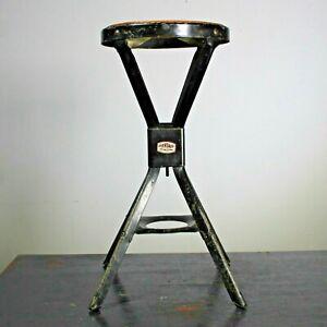 Vintage industrial Evertaut workshop stool black enamel paint original decal #04