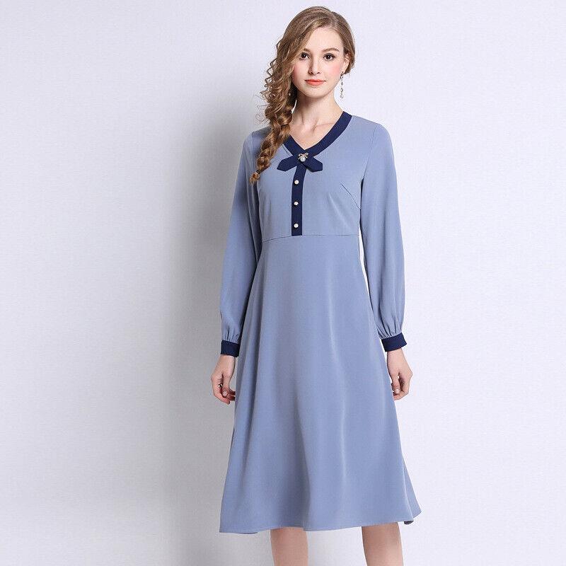Élégant kleid blau blau schlank hülle schaukel schlank weich 4933