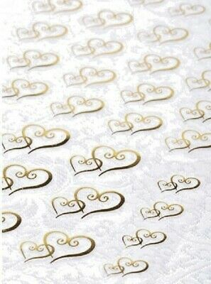 53 Stickers total Gold Foil Double Heart Seals Wedding and Bridal Shower Invitation 3 Sizes