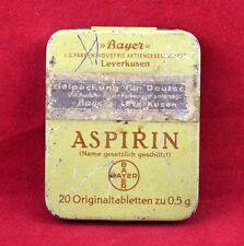 GERMAN WWII WEHRMACHT MEDICAL PILLS TIN BOX ASPIRIN BAYER BOX MEDIC WAR RELIC