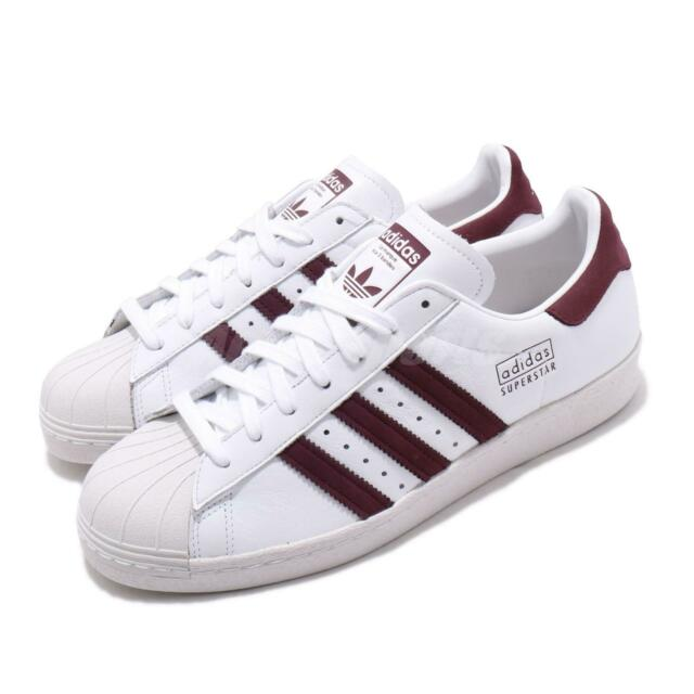 adidas Originals Superstar 80s White Maroon Red Men Classic Casual Shoes CM8439