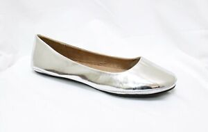 Womens-Ballet-Flat-Comfort-Classic-Slip-On-Ballerina-Shoes-Silver-Size-12-NEW