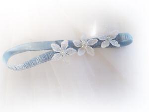 Utile Bleu Clair Ivoire Fleurs Jarretière Swarovski Perles Perles Robe De Mariage Toss-afficher Le Titre D'origine