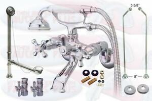 Details About Polished Chrome Clawfoot Tub Faucet Package Kit With Drain Supplies Stops