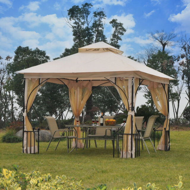 Beau Outsunny 10u0027x10u0027 Gazebo Canopy Net Metal Outdoor Garden Patio Party Tent  Shelter