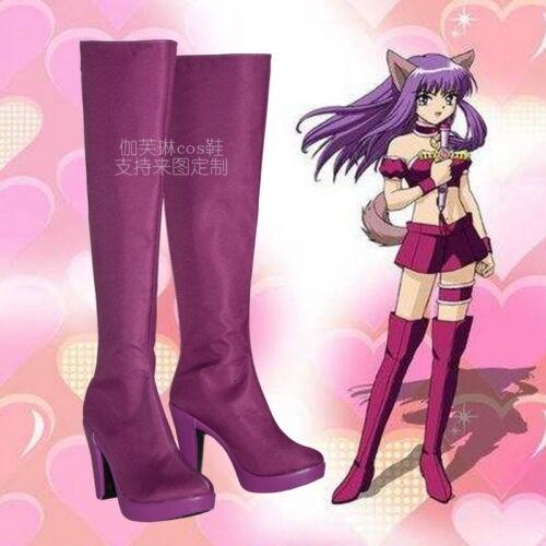 Tokyo Mew Mew  Fujiwara Zakuro Cosplay Boots Shoes Custom Made