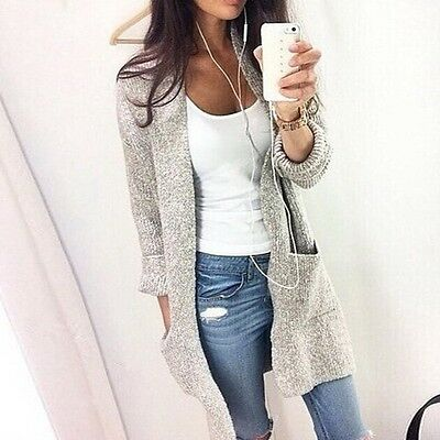 New Womens Cardigan Long Sleeve Knitted Sweater Outwear Loose Long Coat Jacket