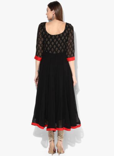 Black Indian Pakistani Anarkali Kurta Kurti Designer Ethnic Women Dress
