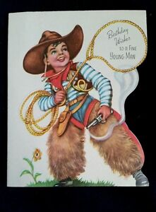 Details About Vintage COWBOY Themed Birthday Wishes To A Fine Young Man Card
