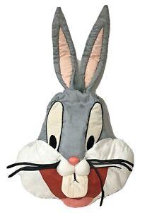 "Vtg Bugs Bunny Plush Pillow Head Play by play Nylon 21"" 1994 HTF Warner Bros lg"