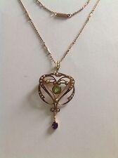 Delightful Fine Art Nouveau 9ct Gold Suffragette Pendant Necklace