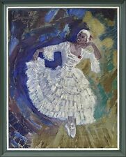 "BALLERINA ""FRAU IN WEISSEM KLEID"" LADY INA WHITE DRESS - 1950 SIGNIERT EXPRESSIV"