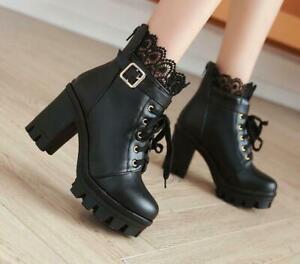 Women-039-s-Lolita-Lace-Buckle-Strap-Gothic-Block-High-Heels-Ankle-Boots-Plus-sz-us