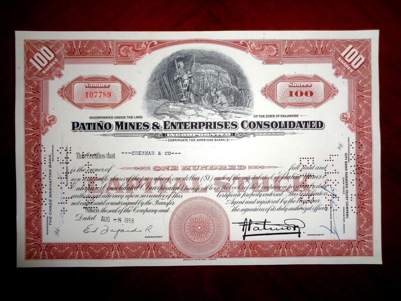 Patiño Mines & Enterprises Consolidated 1958-61 Share Certificate