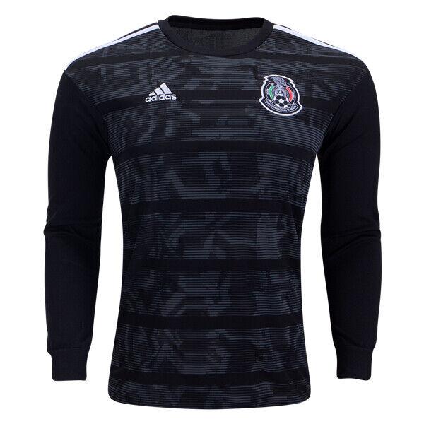Adidas mannen's Mexico 19 20 Home Lange mouw Jersey zwart wit DP0207