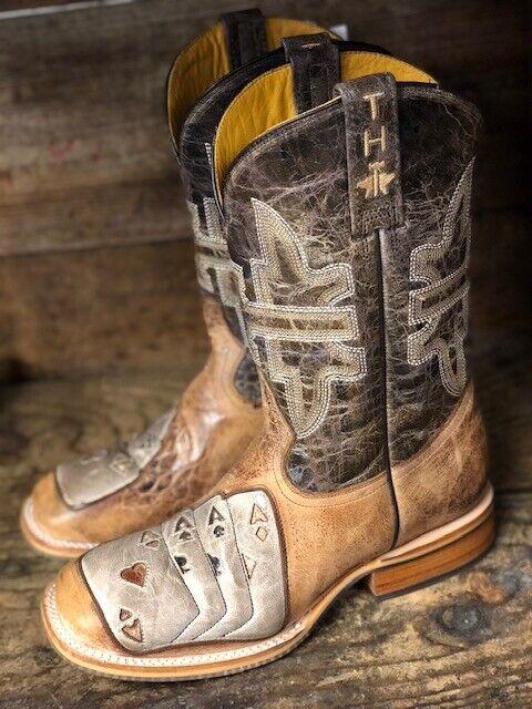 Tin Haul Men's High Roller Tan & Bone Ace Card Square Toe Western Boots 0360