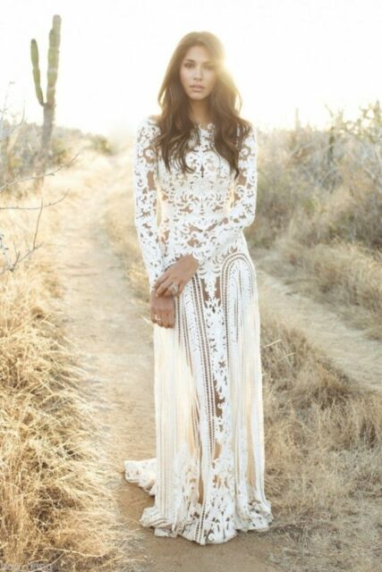 66c1626e4549 White Long Sleeve Lace Wedding Dress Bohemian Bridal Gown Sheer Open Back  Custom