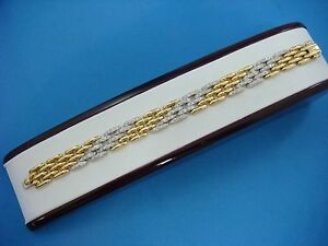 !STUNNING 18K YELLOW AND WHITE GOLD 1.25 CT DIAMOND BRACELET, 37.2 GR, 7.25 INCH