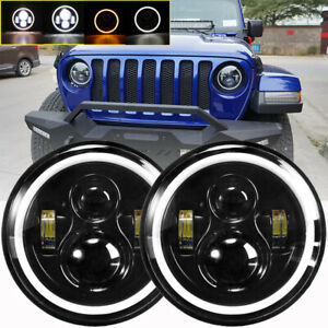 Pair-7-034-Inch-Round-LED-Headlights-Halo-Angle-Eyes-For-Jeep-Wrangler-JK-LJ-TJ-CJ