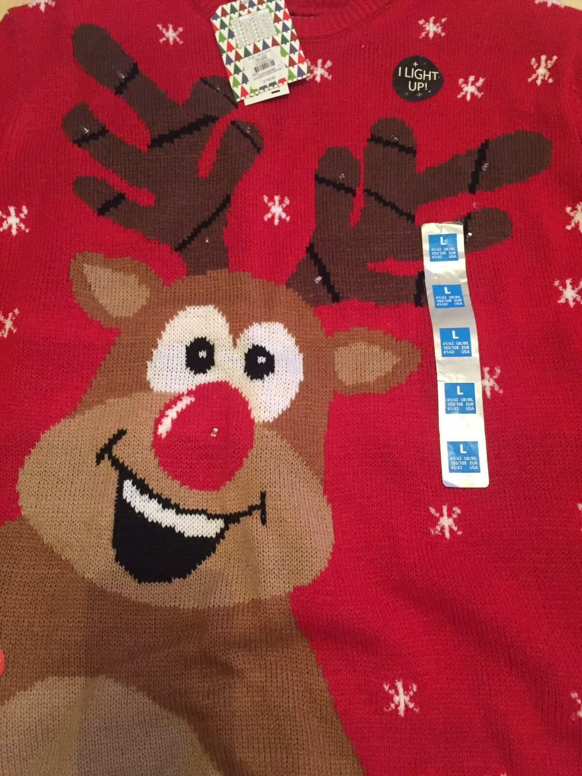 """Christmas Reindeer jumper In Large Size 41 - 43"""" In Red  With Xmas Flashlights"""