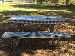 eBay & Details about 3 pcs of Picnic / Camping Vinyl cover for Table \u0026 Bench...color: Green / White.
