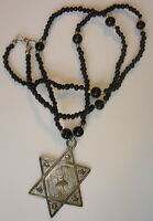 Six 28 Vintage 1980's Black Glass Bead Ornate 8 Star Pendant Necklaces At $2