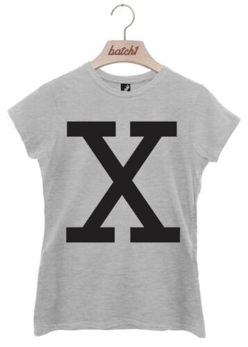 BATCH1 ALPHABET LARGE LETTER FASHION SLOGAN WOMENS T-SHIRT PERSONALISED LETTER X