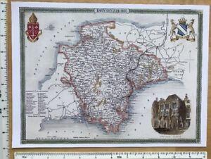 Map Of England To Colour.Details About Old Antique Colour Map Devon England C1830 S Moule 9 X 12 Reprint