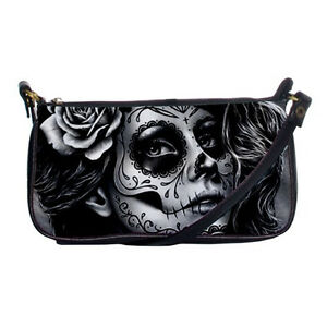 Rockabilly Lolita Goth Sugar Skull Girl Tattoo Small Shoulder Clutch