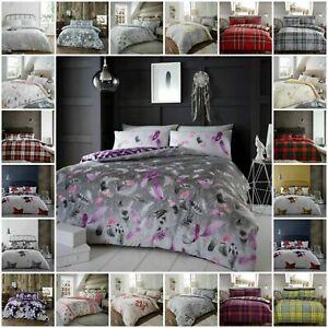 100/% Brushed Cotton Flannelette Warm Duvet Quilt Cover Bed Set Tartan Check Stag