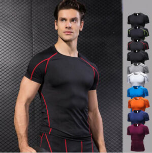Men/'s Sports Workout Compression Wear T-Shirts Dri fit Running Gym Training Tees