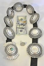 19+ozt Buffalo Dancer Taos Tribe Lawrence Archuleta CONCHO BELT Sterling Silver