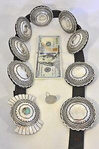 19+ozt Buffalo Dancer Taos Tribe Lawrence Archuleta CONCHO BELT Sterling Silver