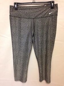 Nike Legend Tight Dri Fit Crop Legging Active Pant Grey Black 622191 ... 0362b21ea89