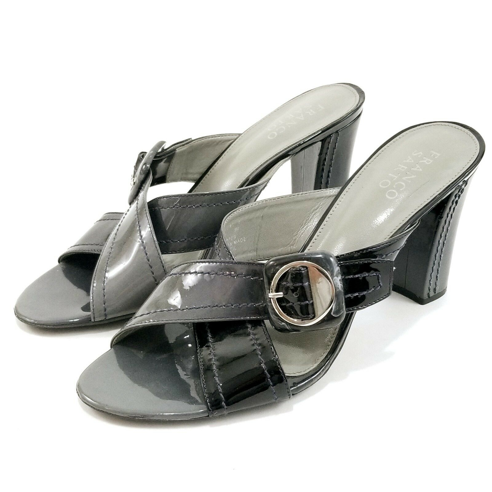 Gentleman/Lady Franco Sarto Black Gray High Slide Heel Sandals Open Toe Slide High Sz 9 M Leather Buckle fashion Cheaper than the price Explosive good goods GA1218 71f71e