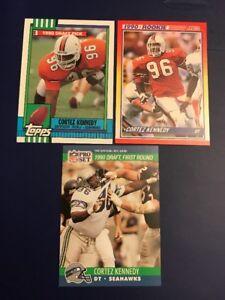 1990-Score-Topps-334-Pro-Set-671-CORTEZ-KENNEDY-ROOKIE-Lot-3-Seahawks-HOFER