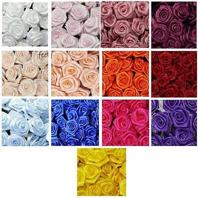 12 Diorröschen Satinröschen gedrehte Stoffrosen Rosen für Hochzeit Kopfschmuck