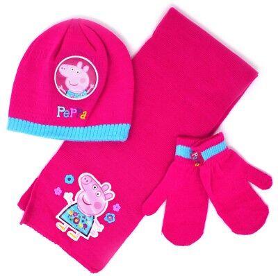 Children Girls Peppa Pig or Disney Frozen Beanie Hat /& Gloves up to Age 8