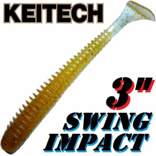 "Keitech Swing Impact 3/"" Gummifisch 7,5cm Wakasagi # 324-10 Stück im Set"