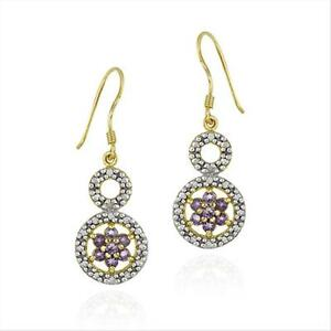 18K-Gold-over-925-Silver-Amethyst-Flower-amp-Diamond-Accent-Double-Circle-Earrings