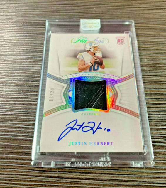 2020 Flawless Signature Gloves Rookie Auto Encased Justin Herbert 6/20 Chargers