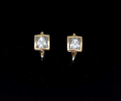 14K Solide Or Jaune Princesse Square créé Diamond CALIN Boucles d/'oreilles 2TCW