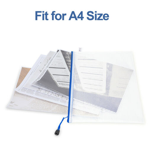 Details about  /15 PACK A4 Zip Bag File Folder Mesh Document Bag Storage Pouch with Zipper US