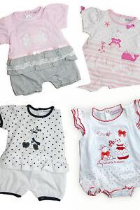 prezzo ragionevole prese di fabbrica bambino Dettagli su Tutina pagliaccetto corto neonata 100% in jersey di cotone  BIDIBIMBO