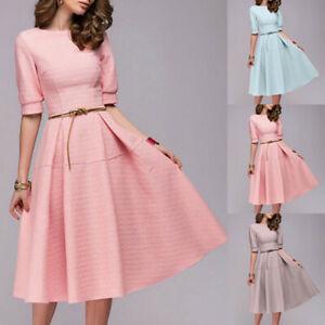 Women-A-line-Elegant-Chiffon-Short-Sleeve-O-neck-Vintage-Party-Knee-Length-Dress