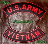 Us Army Vietnam Red On Black Military Patches Set For Biker Motorcycle Vest