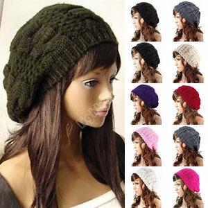da369cc866e Image is loading Women-Lady-Beret-Braided-Baggy-Knit-Crochet-Beanie-