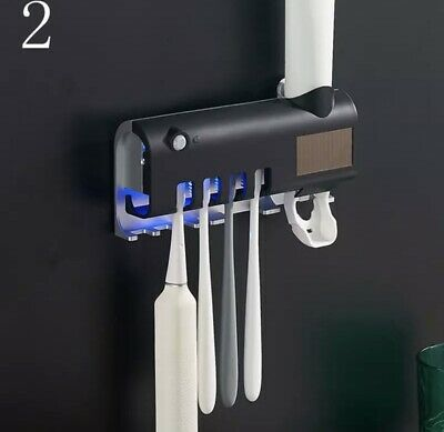 Automatic Toothpaste Dispenser Solar Energy UV Toothbrush Holder Wall Mount Stan
