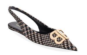 0c51f11c756 Balenciaga Knife Tweed Camel Black Gold BB Logo Slingback Sandal ...