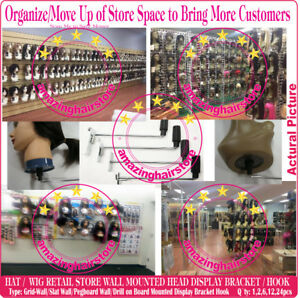 Advertising Beauty Store Head Holder Wig Display Hook Hat Retail Fixture Wall Mount Pegboard With The Best Service